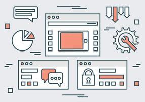 Vecteurs d'éléments de site Web linéaires durables vecteur