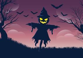 Vecteur halloweeen gratuit d'épouvantail