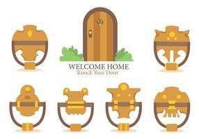 Bienvenue à la maison et frappe votre vecteur de porte