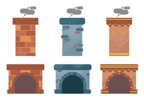 Jeu de design de cheminée vecteur