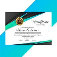 diplôme de certificat de design moderne incliné