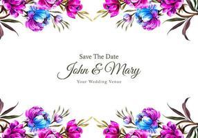 carte de mariage de bordure de fleur rose et bleue en haut et en bas vecteur