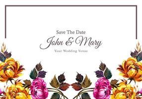 cadre de fleurs colorées invitation de mariage