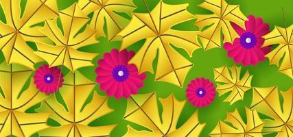 motif de feuille jaune et fleur rose