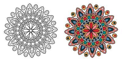 mandala de coloration circulaire décoratif vecteur