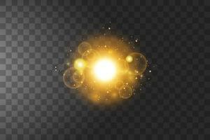 étoiles dorées brillantes isolées sur la transparence