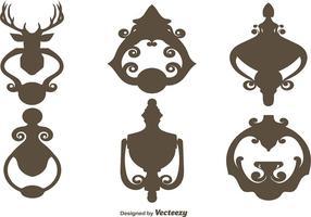 Ensemble vectoriel de silhouettes noires Attelles de porte