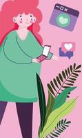 jeune femme, à, smartphone, bulle discours, romantique, textos