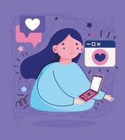 jeune femme, à, smartphone, message romantique, amour, dessin animé vecteur