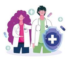 médecin de sexe féminin et masculin avec des médicaments vecteur