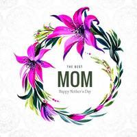 meilleur cadre de fleurs aquarelle maman vecteur
