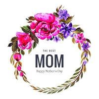 grande couronne de fleurs pour la fête des mères vecteur
