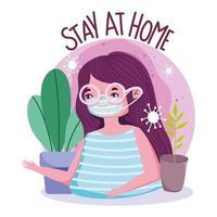 rester à la maison affiche avec jeune femme avec masque vecteur