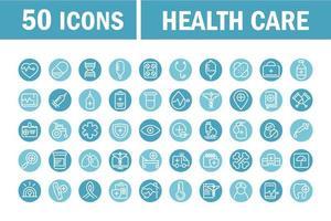 icônes de cercle bleu équipement médical et de soins de santé