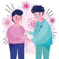 infirmière professionnelle donnant le vaccin au patient vecteur