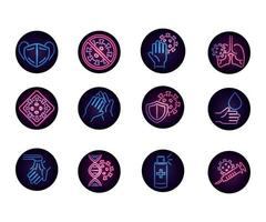 jeu d'icônes néon circulaire coronavirus vecteur