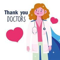 merci, médecins, conception, à, femme médecin, cap vecteur