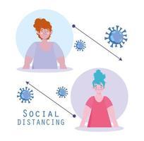 affiche de distanciation sociale de coronavirus avec deux femmes