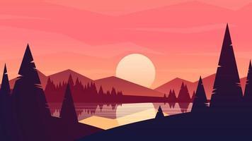 soleil dans le paysage de montagnes vecteur