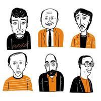 différents visages d'hommes chauves et d'hommes aux cheveux