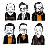 différents visages d'humains en noir