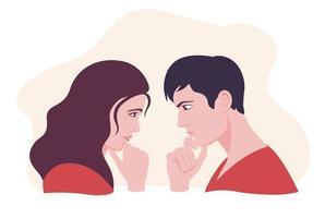 femme et homme se regardant et pensant