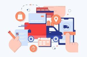 concept de livraison de boutique d'achat en ligne vecteur