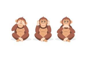 trois singes assis avec les yeux, la bouche et les oreilles fermés vecteur