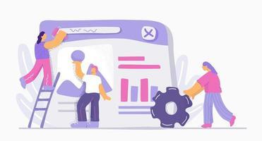 doodle personnes travaillant ensemble sur le développement du site vecteur