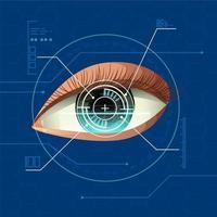 conception de la technologie numérique de balayage des yeux vecteur