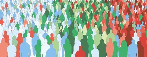 silhouette de foule de gens colorés vecteur