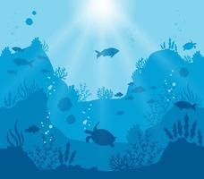 silhouette du monde sous-marin bleu profond