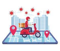 service en ligne de livraison de motos vecteur