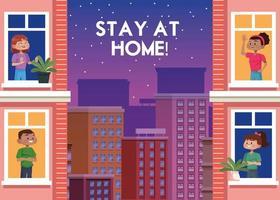 personnes qui restent à la maison en ville vecteur