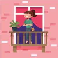 femme sur le balcon de l'appartement vecteur