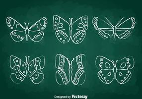 Ensemble de vecteur papillon chalkdraw
