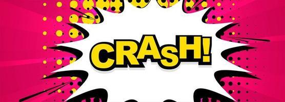belle conception de bannière de texte de crash comique vecteur