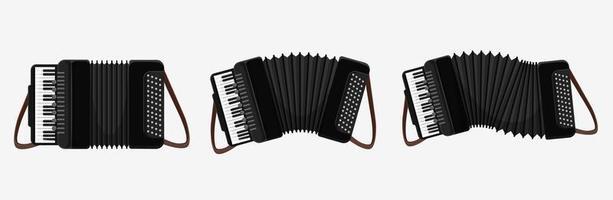 ensemble d'accordéons classiques de dessin animé vecteur