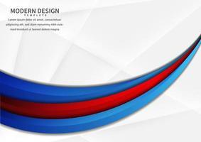 Résumé des couches courbes vibrantes rouges et bleues qui se chevauchent sur blanc