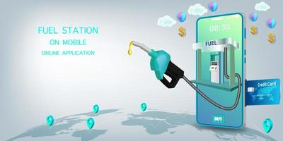 station-service en ligne téléphone mobile vecteur