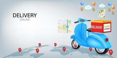 livraison rapide en scooter sur mobile vecteur