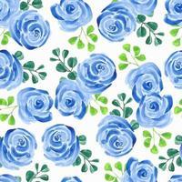 motif aquarelle fleur rose bleue