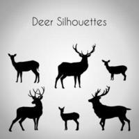 paquet de silhouettes de cerfs vecteur