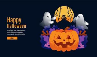 page halloween avec pompe, fantôme et maison hantée