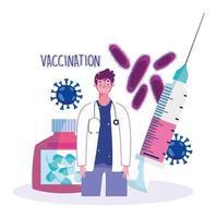 Médecin avec seringue et capsule de vaccination de soins de santé médicale sur ordonnance