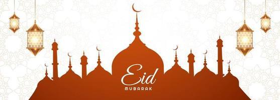 bannière élégante avec la silhouette de la mosquée pour la carte eid mubarak vecteur
