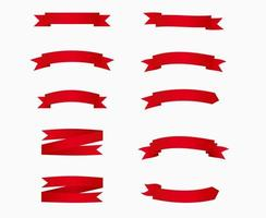 pack de bannières ruban rouge vierge. vecteur