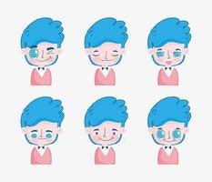 jeune garçon aux cheveux bleus avec différentes expressions faciales