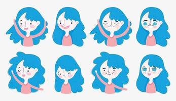 Assortiment de fille aux cheveux bleus dans différentes positions vecteur