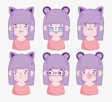 pack tête de fille de dessin animé kawaii